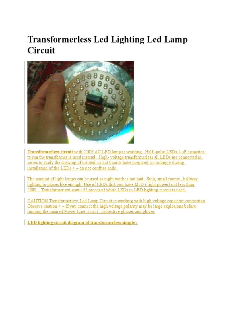 Transformerless Led Lighting Lamp Circuit Lamps 1534635258v1