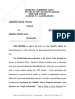 Order Denying Motion for Recon for Electronic Filing