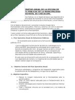 Plan Operativo Anual de La Oficina de Relaciones Públicas de La Municipalidad Distrital de Checacupe