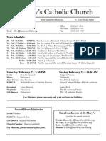 Bulletin for February 15, 2015