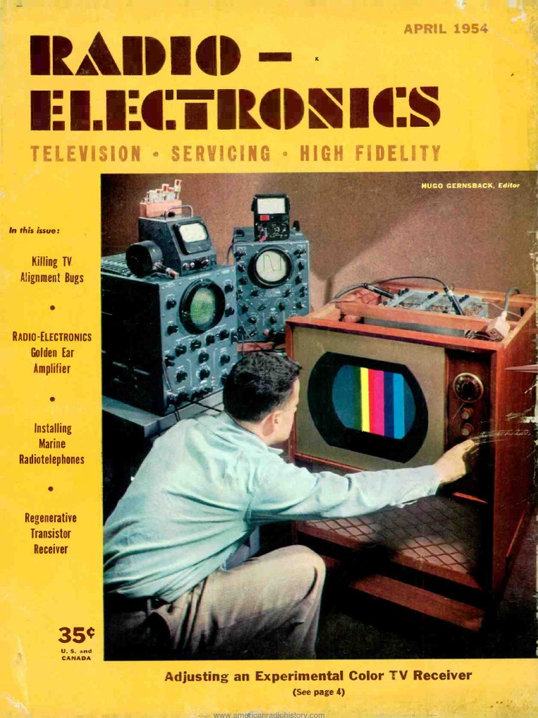 Radio Electronics 1954 04 Loudspeaker Television Astatic Model 539 Noise Cancelling Microphone Cb Ham Wiring