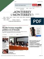 10-02-15 Recibe Ivonne Respaldo Político en El Senado - Grupo Milenio
