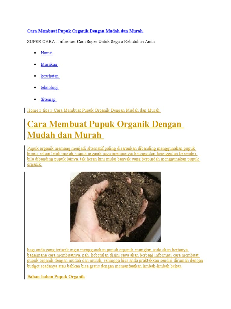 Cara Membuat Pupuk Organik Dengan Mudah Dan Murah 1