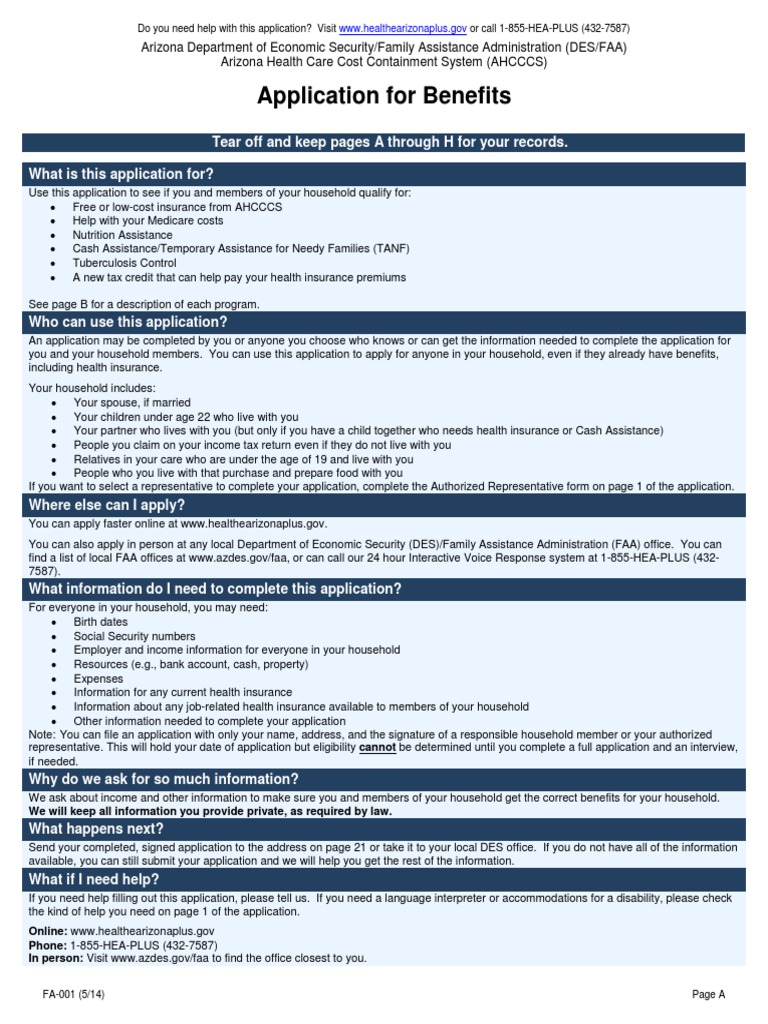 Ahcccs Desbined Application Medicare (united States) Supplemental Security  Income