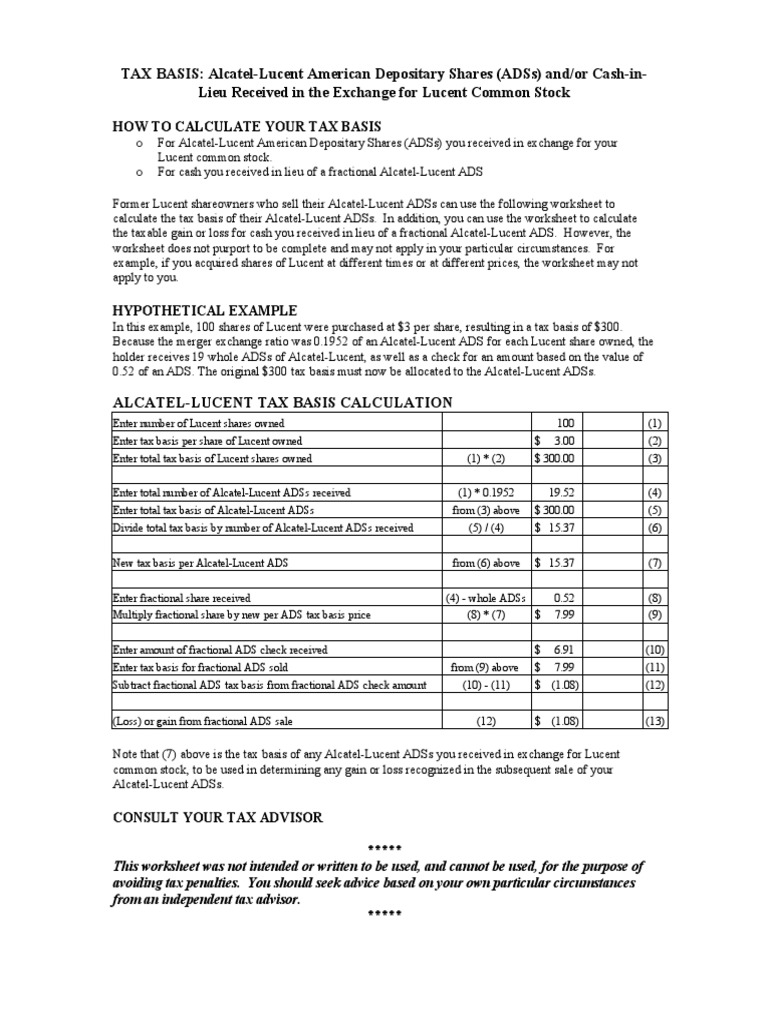 worksheet Shareholder Basis Worksheet alcatel lucent tax basis worksheet american depositary receipt