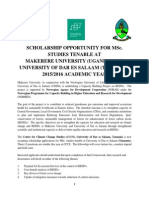 Scholarship Opportunity for Msc Studies Tenable at Udsm and Makerere2015