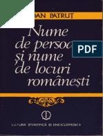 Ioan Patrut - Nume Si Persoane Si Nume de Locuri Romanesti