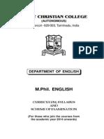 Scott Christian College M.Phil English Syllabus