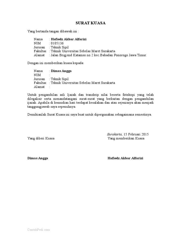 Surat Kuasa Dimas Angga Hafiedz Akbar Alfarizi