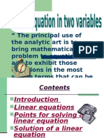 Linear Equations in 2 Variables