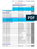 Ricoh Aficio Parts List