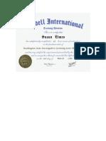 Ruddell International Certificate
