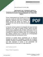 PRIMER VICEPRESIDENTE DEL CONGRESO APOYA AL ALCALDE DISTRITAL DE OLLEROS EN GESTIONES SOBRE ATENCIÓN EN SALUD CON LA EMBAJADA DE COREA DEL NORTE