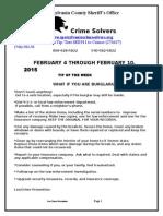 Spotsylvania Co. Crime Solvers Report 2/4 - 2/10/2015