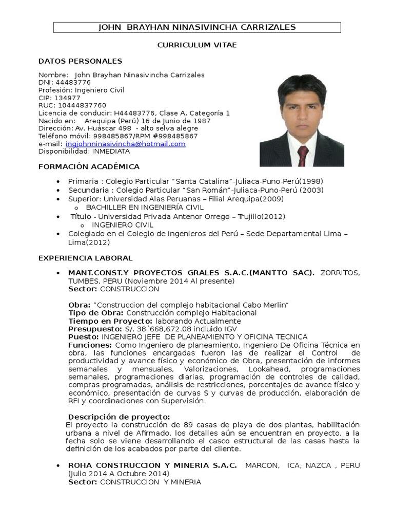 Perfecto Plantilla De Curriculum Vitae Ingeniero Senior Fotos ...