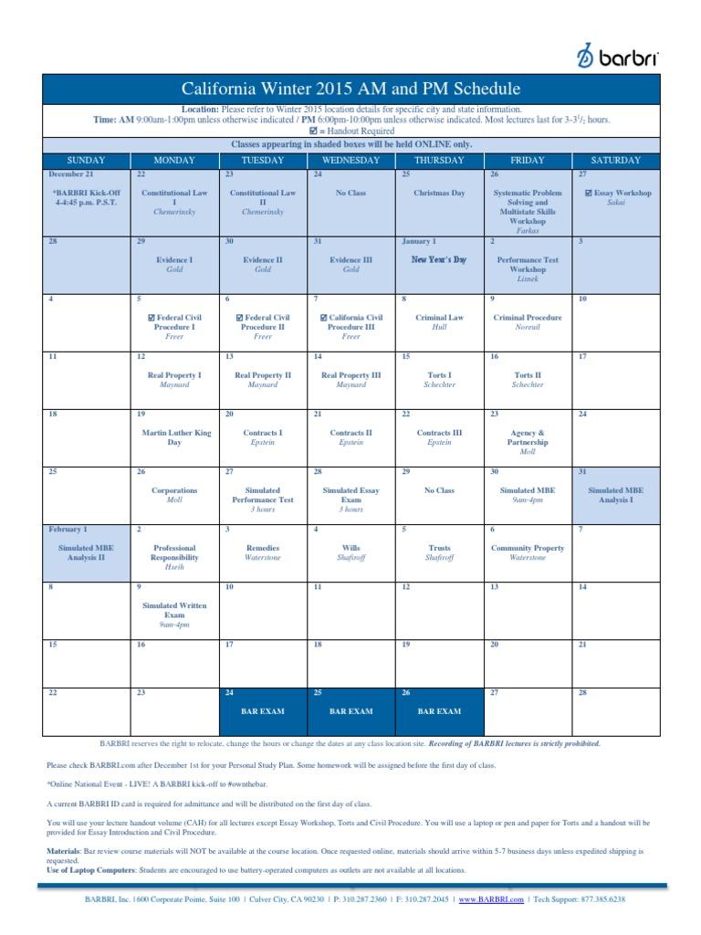 Barbri Winter 2015 California Bar Exam Review Schedule