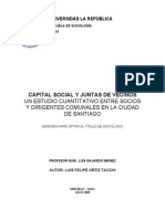 Capital Social y Juntas de Vecinos Un Estudio Cuantitativo Entre Socios y Dirigentes Comunales en La Ciudad de Santiago
