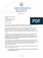 Letter to Speaker Boehner on PM Netanyahu Invitation Clarification