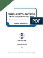 Asesoria Terapia Ocupacional Modelo Ocupacion Humana y Rutina. Unidad de Drogas. Corporación Servicio Paz y Justicia Serpaj Chile. Año 2011