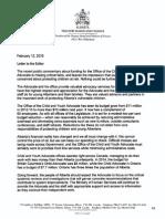Letter from Alberta's Finance Minister