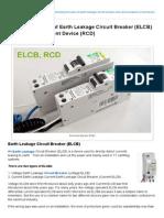 Working Principle of Earth Leakage Circuit Breaker (ELCB), RCD.pdf