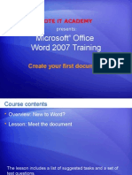 create your first document in word