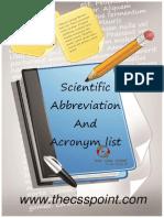 Scientific Abbreviation and Acronym List