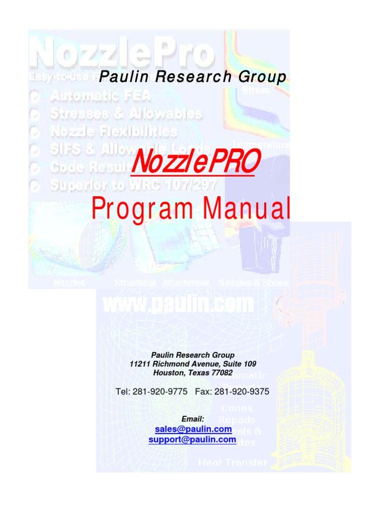 Nozzlepro Manual and Faq | Structural Load | Stress (Mechanics)