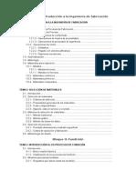 Indice de la Asignatura Ingeniería de la Fabricación (en proceso)