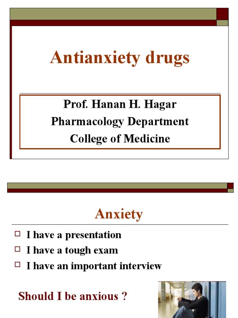 Workbooks anti anxiety workbook : 01. antianxiety.ppt | Benzodiazepine | Anxiety Disorder