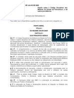 Lei Nº 11.817, De 24JUL2000 - Código Disciplinar PMPE