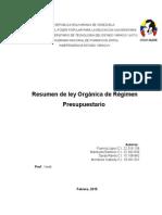 Informe de Ley Organica de Regimen Presupuestario