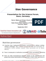 Nutrition Governance, Presentation for the Science Forum, Bonn, Germany, September 2013