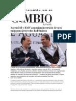 12-02-2015 Diario Matutino Cambio - Korenfeld y RMV Anuncian Inversión de 906 Mdp Para Proyectos Hidráulicos