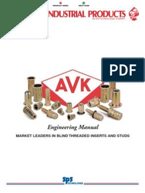 Thread Size 10-32 AVK Industrial ALS4T-1032-130 AL-Series Insert Yellow