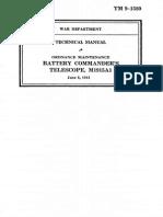 TM 9-1580 Battery Commanders Telescope M1915A1 1941