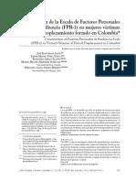 2014- Construcción de La Escala de Factores Personales de Resiliencia (FPR-1) en Mujeres Víctimas Del Desplazamiento Forzado en Colombia