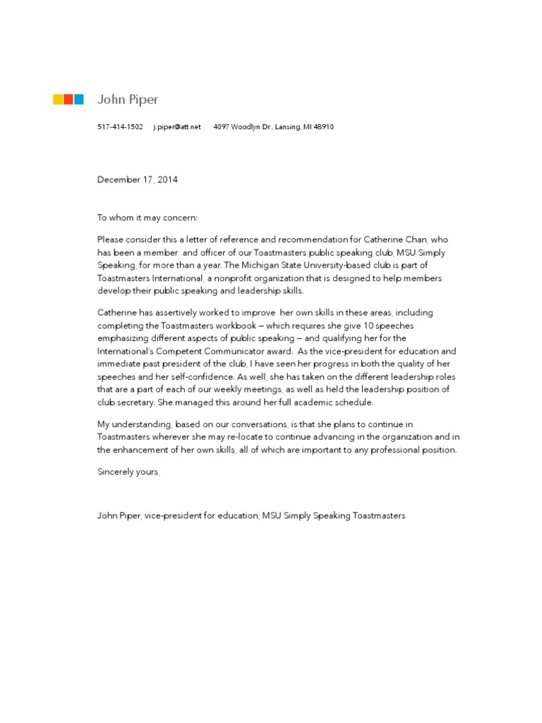 Toastmasters letter of recommendation mitanshu Images