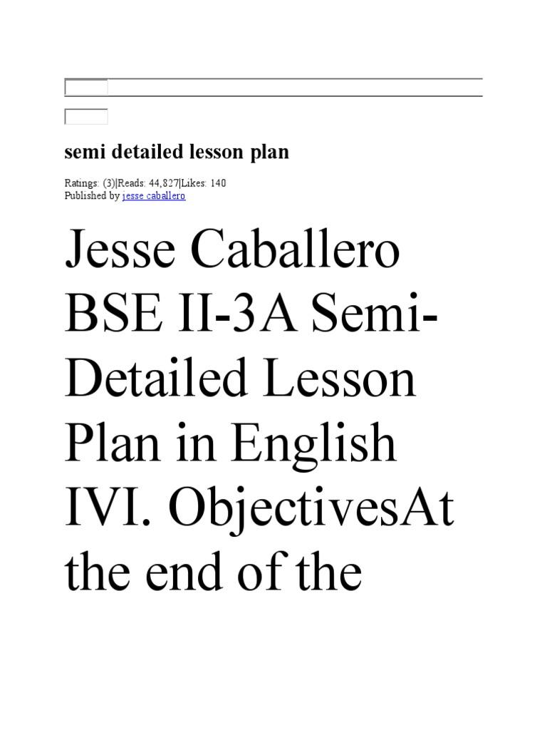 semi detailed lesson plan scribd essays