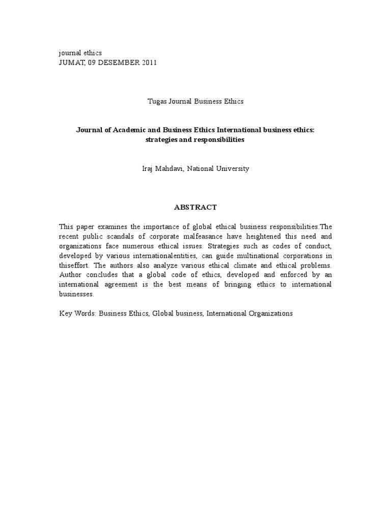 Jurnal International Business Ethics Business Ethics Value Ethics