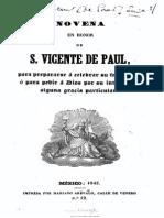 Novena en Honor de S Vicente de Paul Par