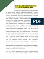 Valor Jurídico Del Acta de Conciliación Por Acuerdo Total en El Peru