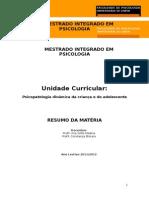 RESUMOS JESSICA - Psicopatologia Dinâmica Da Criança e Do Adolescente