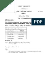 1f00eOff campus recruitment - JK Paper Ltd on 20th Jan. 2015.docx