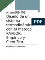Diseño de Un Sistema Termodinamico, Metodo Raeor, Cientifico y Empirico.