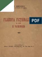 Stefan Zissulescu-Filosofia Fictionalista a Lui H. Vaihinger-Tiparul Universitar (1939)