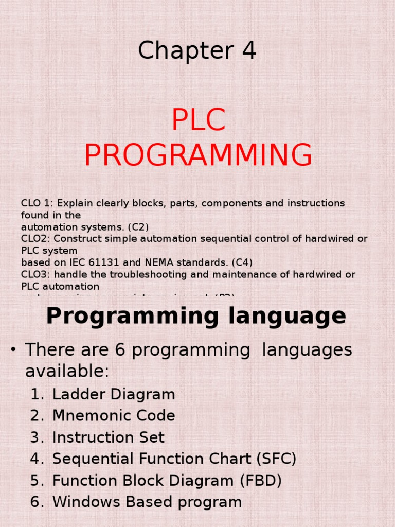 Chapter 4 - Plc Programming | Programmable Logic Controller