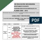 Calendario Programas Especiales - 2015 Interinos