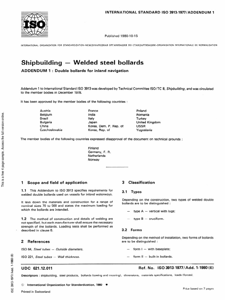 ISO /Add Double bollards for inland navigation ISO TC 8/SC 7 Books
