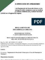 REGLAMENTO DE DESARROLLO URBANO PARA EL AREA DEL MUNICIPIO DE MANAGUA